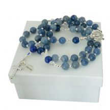 Personalised Rosary with Blue Aventurine, Sterling Silver